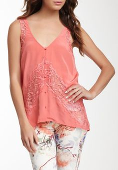 Madison Marcus Silk Button Tank with Lace Detail