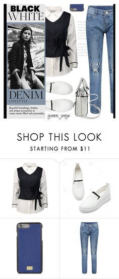 """Black, White & Denim - Gamiss.com"" by goreti ❤ liked on Polyvore featuring Dolce&Gabbana"