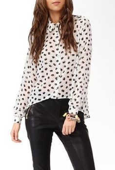 NWT Forever21 Hello Kitty Spiked Button Down Long Sleeve Shirt black + white S #FOREVER21 #ButtonDownShirt