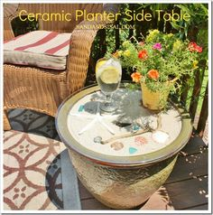 DIY Ceramic Planter Side Table TUTORIAL I like this better than a solid wood top! However, Solid wood tops and empty planters equal storage! Planter Table, Patio Table, Deck Patio, Sand Table, Diy Table, Large Ceramic Planters, Cactus Planters, Ceramic Pots, Magazine Deco