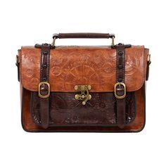 Tan Steampunk Satchel ($42) ❤ liked on Polyvore featuring bags, handbags, tan bag, satchel style handbags, brown satchel, satchel purse and brown satchel bag