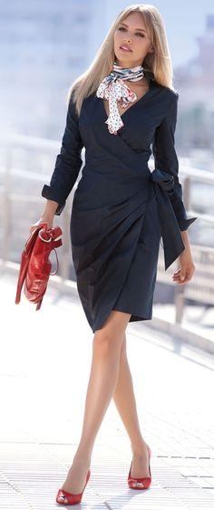 Love this cut! Great classy wrap dress #LKBxBC @L.K.Bennett
