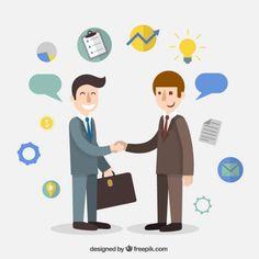 Businessman agreement cartoon Free Vector