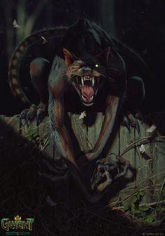 The Witcher/ Werecat/ Gwent Card/ Monster Witcher Art, The Witcher, Arte Horror, Horror Art, Witcher Monsters, Bastet, Scary Cat, Creepy, Werewolf Art