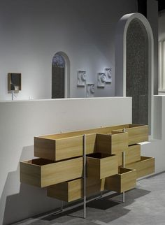 Looking for a minimalist bathroom design? The design studio Nendo has designed what you need: bathroom with sleek and elegant design. Moving Company Quotes, Minimalist Bathroom Design, Console Cabinet, Bathroom Collections, Japanese Design, Contemporary Architecture, Shelves, Pure Products, Furniture