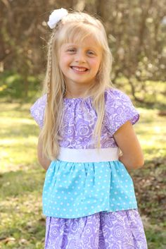 Girls Lavender and Turquoise Tiered Spring Dress size 3 months- 12 years by ImpactInspiredShop, $29.99 #modestgirlsdress