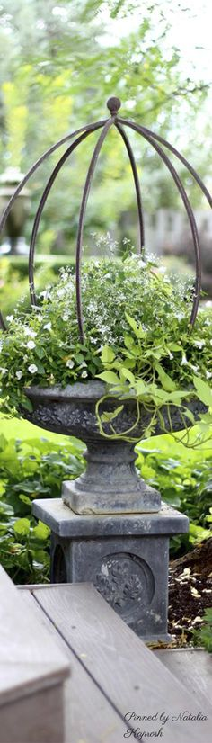 this would be pretty on the bird bath base in the front yard Container Plants, Container Gardening, Small Gardens, Outdoor Gardens, Urn Planters, Bird Bath Planter, Garden Urns, Garden Styles, Dream Garden