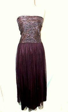 Prom Evening Dress Set Sz 7 8 Pink Metallic Top Purple Plum Maxi Skirt sz 5 6 SOLD