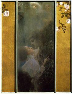El Amor introduce significativas novedades con respecto a Fábula y a Idilio. El tema no se representan mediante evocaciones mitológicas o reinterpretaciones del pasado -si bien se ha sugerido un paralelo con el Éxtasis de santa Teresa de Bernini- sino por una pareja abrazada, en atavío contemporáneo.