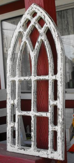 Completely new Distressed Arched Window Frame. $42.00, via Etsy. Add a mirror  WK76