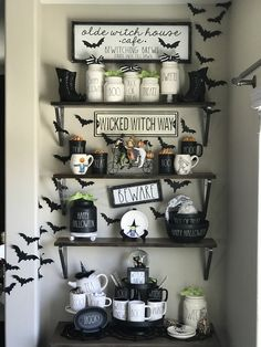 Stunning Ideas for a coffee station ideas for work exclusive on home like art de. Stunning Ideas for a coffee station ideas for work exclusive on home like art decor Halloween Bathroom, Halloween Home Decor, Diy Halloween Decorations, Fall Halloween, Halloween Ideas, Halloween Makeup, Coffee Decorations, Halloween Party, Halloween College