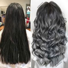 Hairdresser-Gray-Hair-Makeovers-Jack-Martin Grey Hair Transformation, Curly Hair Styles, Natural Hair Styles, Gray Hair Growing Out, Dying Hair Grey, Gray Hair Highlights, Transition To Gray Hair, Hair Dos, Her Hair