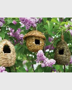 Roosting Pocket Village:Birds will stay nice and cozy in these delightful roosting pockets woven of all-natural grasses and straw. Hang them from tree branches, vines or fences to provide safe, warm nooks for small birds. They add charm to the garden year-round and they may even serve as nests in the spring.
