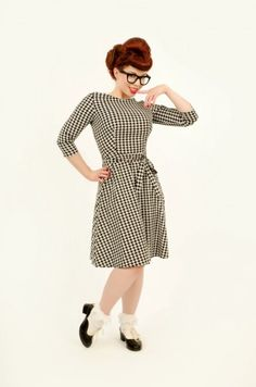 Mitzi Dress in Houndstooth Courdroy
