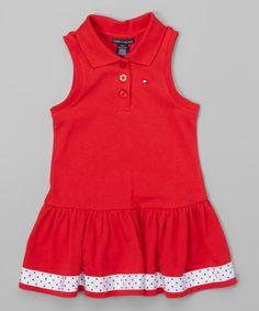 Loving this Tommy Hilfiger Red Collared Drop-Waist Dress - Toddler & Girls on #zulily! #zulilyfinds