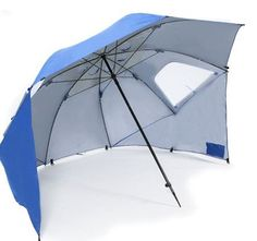 Super Brella Beach Umbrella (Blue) by Super-Brella. $44.99. A beach umbrella, sun tent, rain shelter and more. On the sidelines or at the beach, the Super-Brella gives you instant portable protection from the sun, rain, and wind with UPF 50+ quick shade protection. It sets up in just three seconds and fits the family or the whole team.