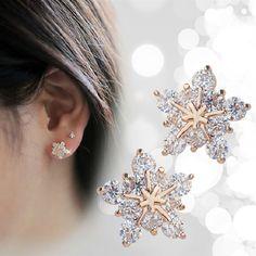 Moda coreano carino tono oro di cristallo strass fiocco di neve orecchio orecchini gioielli per le donne regalo di natale spedizione gratuita