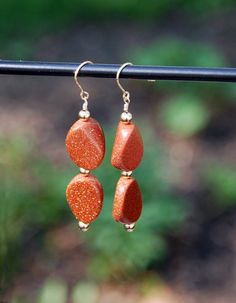 Goldstone Earrings 14k Gold Filled Goldstone by KarmaKittyJewelry
