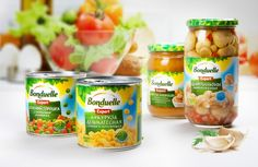 Консервированные овощи «Bonduelle»   What the Pack Label Design, Logo Design, Graphic Design, Package Design, Food Poster Design, Food Packaging Design, Canola Oil, Tomato Paste, Social Media Design