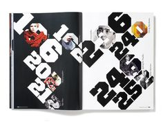 Plastique_Issue2_Spread- love the contrast black & white pages, angled type, filled in numbers