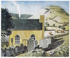 Eric Ravilious - Chapel at Capel-y-ffin - Landscape Art, Landscape Paintings, Landscapes, English Artists, British Artists, St Just, Beautiful Paintings, Painting & Drawing, Illustrators