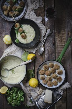 Pork meatballs with lemon and ginger, mashed potatoes and fennel