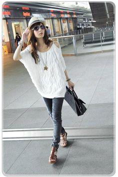 Eye Fashion Layer Off Shoulder Short Sleeve Shirts  Shirts from stylishplus.com