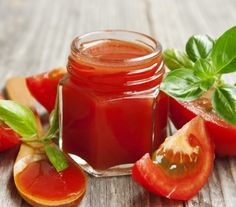 Fresh tomato sauce with basil on wooden table by CatiaM. fresh tomato sauce jar with basil leaves Catsup, Clean Recipes, Healthy Recipes, Chutney, Good Food, Yummy Food, Vinaigrette, Plant Based Recipes, Tomato Sauce