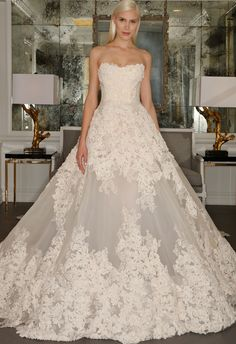 Chantilly Lace Strapless Ball Gown Wedding Dress | Romona Kaveza Collection Fall 2015 | blog.theknot.com