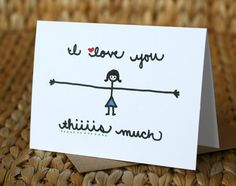I Love You Thiiiis Much Girl Love Card by SARNSTIE on Etsy