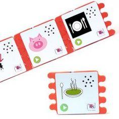 Enregistrez un message sur chacune de ces 6 cartes. Assemblez-les ensuite à la façon d'un puzzle. Il suffit alors d'appuyer sur le bouton « Play » de la première carte pour entendre l'intégralité des messages les uns à la suite des autres