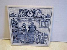"Delft Holland 6"" X 6"" Burroughs Pharmacy Scholarship Pill Tile Unicorn Crest D"