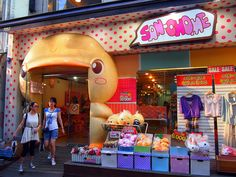 San-chome in Edae - San-chome is just one of many quirky stores that line the shopping streets of Ewha Woman's University.  Visit this shop (with a very unique facade) to find character stationary, funny trickets, and specialty imports from Japan.  Get there: Take the Seoul subway to Ewha Woman's University (Line 2, Exit 3).  The shop is located to the right of the Yes Apm shopping complex.
