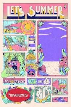 Estudio Pum Brings Stylish Tropical Look to Havaianas Illustrations Graphic Design Studios, Graphic Design Posters, Graphic Design Inspiration, Flat Illustration, Graphic Design Illustration, Storyboard, Cultura Pop, Print Design, Let It Be