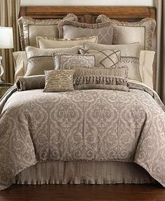 "Waterford Hazeldene Collection  comforter $350.00    Overview Inspired by the beauty of Venetian ironwork, the Waterford Hazeldene comforter features opulent fabrics in a soothing blend of earth-tone hues. Twist cord trim completes the sophisticated look. Reverses to an alternating ironwork pattern. Face: rayon/polyester. Reverse: polyester, exclusive of decoration. Polyester fill. Dry clean only Imported Dimensions: 110"" x 96"" Web ID: 952440"