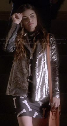 Aria's bone print dress and sequin jacket on Pretty Little Liars.  Outfit Details: https://wornontv.net/27477/ #PLL