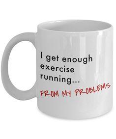 Running Pun Coffee Mug - Funny Mug, Running Gifts, Funny Fitness Cup, Runners Coffee Cup, Exercise Tea Cup, Workout Mug - Novelty 11oz & 15oz Ceramic Cup - 11oz Mug / White
