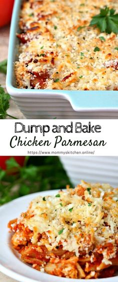 Dump and Bake Chicken Parmesan #chickenpamersan #dinnerrecipe Easy Baked Chicken, Chicken Steak, Chicken Parmesan Recipes, Easy Chicken Recipes, Pork Recipes, Easy Recipes, Parmesan Noodles, Casserole Recipes, Casserole Dishes