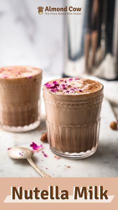 Dessert Drinks, Yummy Drinks, Dessert Recipes, Yummy Food, Fun Baking Recipes, Milk Recipes, Cooking Recipes, Dairy Free Nutella, Smoothie Recipes