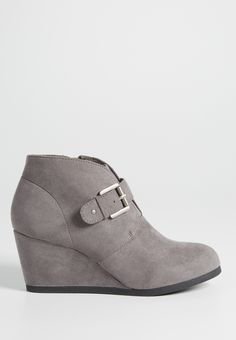 Dakotah faux suede buckle wedge bootie in gray (original price, $34.00) available at #Maurices