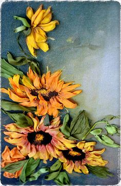 """Картина вышитая лентами """"ЦВЕТОК СОЛНЦА"""" – купить или заказать в интернет-магазине на Ярмарке Мастеров   Какой цветок является настоящим символом лета и…"""