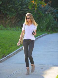 white tee, skinny ash jeans, suede booties