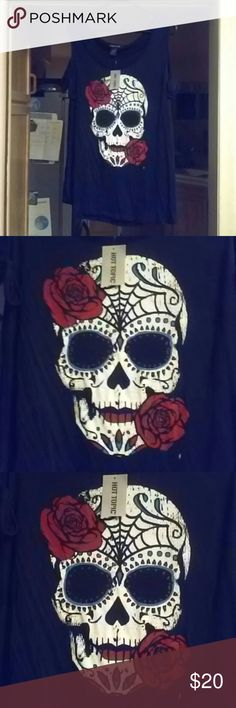 REDUCED Sugar Skull Off Shoulder Top Super cute flowy sugar skull top. Off the shoulder sleeves, with ties on it. Has a very sort of pin up or rockabilly look to it. Brand new with the tags. Hot Topic Tops