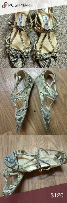 """Jimmy Choo Snakeskin Nate Leather Sandals. Jimmy Choo leather sandals, gladiator style 2"""" wedge. Preloved in good condition. Shows wear on bottom. Jimmy Choo Shoes Sandals"""