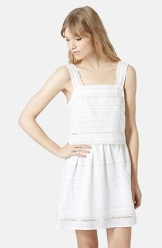 Topshop Lace Trim Overlay Sundress available at #Nordstrom (Black size 4)