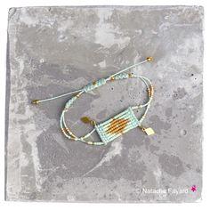 Mint / pastel green and gold - Woven bracelet, micro macrame and miyuki delica seed beads, diamond shapes. © Natacha Fayard #miyuki #delica #mint #macrame #MicroMacrame #pastel #green #gold #diamond #pastel #green