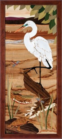 Hudson Valley Egret - Egret Marquetry picture by Jeff Nelson, x 270 piece inlay featuring 24 species of wood and Mother of Pearl. Beautiful Artwork, Cool Artwork, Corn Dolly, Intarsia Patterns, Scroll Saw Patterns Free, Ligne Claire, Wood Stone, Bird Drawings, Panel Art