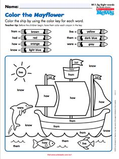 Bring the Mayflower to life with this color-by-sight word FREE printable from Scholastic News Sight Word Worksheets, First Grade Worksheets, Sight Word Activities, School Worksheets, Preschool Activities, Thanksgiving Worksheets, Thanksgiving Preschool, Teaching Kindergarten, Student Teaching