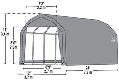 12x24x11 Barn Shelter (Gray Cover)  All-steel frame with premium powder-coated finish resists rust and corrosion. Bolt-together hardware at every connection point ensures maximum strength and durability. Our Ratchet TiteTM Tension System and Easy-Glide Sliding Cross Rails keep the cover smooth and taut Advanced engineered, commercial grade polyethylene woven fabric is UV treated inside and out...