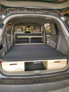 Turn your minivan with the Roadloft Camper Conversion Kit in just a few minutes without any permanent modification. Minivan Camper Conversion, Suv Camper, Camper Van, Minivan Camping, Truck Camping, Camping Tips, Honda Odyssey, Land Cruiser, Motorhome